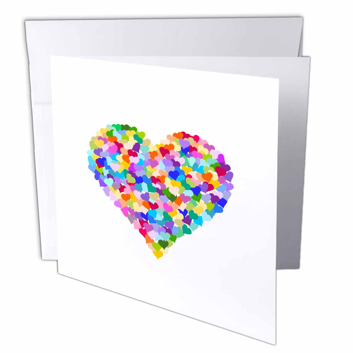 3dRose Rainbow love heart of hearts made of colorful romantic confetti - cute multicolor - valentines day, Greeting Cards, 6 x 6 inches, set of 12