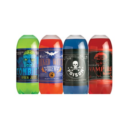 Set of 4 Halloween Themed Slapsticker Glow In The Dark Soda Pop Bottle Stickers - Halloween Cubicle Theme Ideas