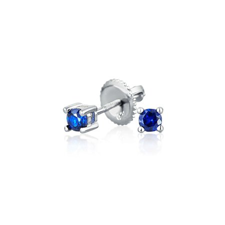 Sterling Silver Simulated Sapphire CZ Kids Screwback Stud Earrings (Child Birthstone Jewelry)