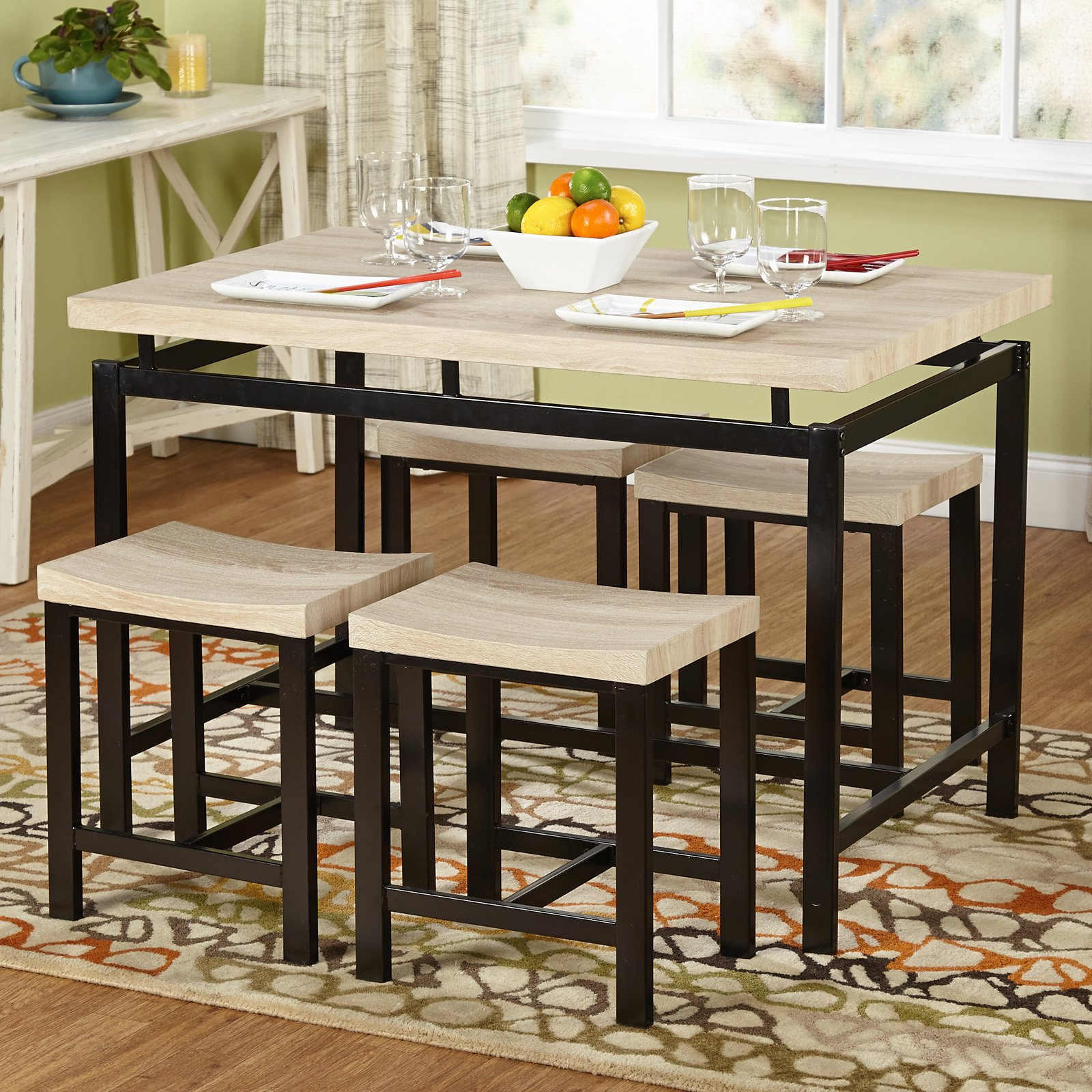 5 Piece Delano Dining Set Natural Walmart Com