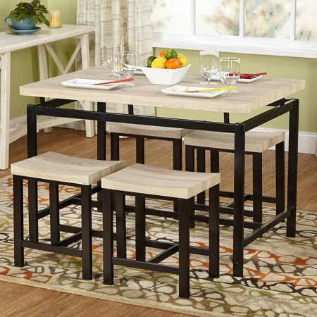 Stylish Natural Dining Room Table - 5-Piece Delano Dining Set, Natural