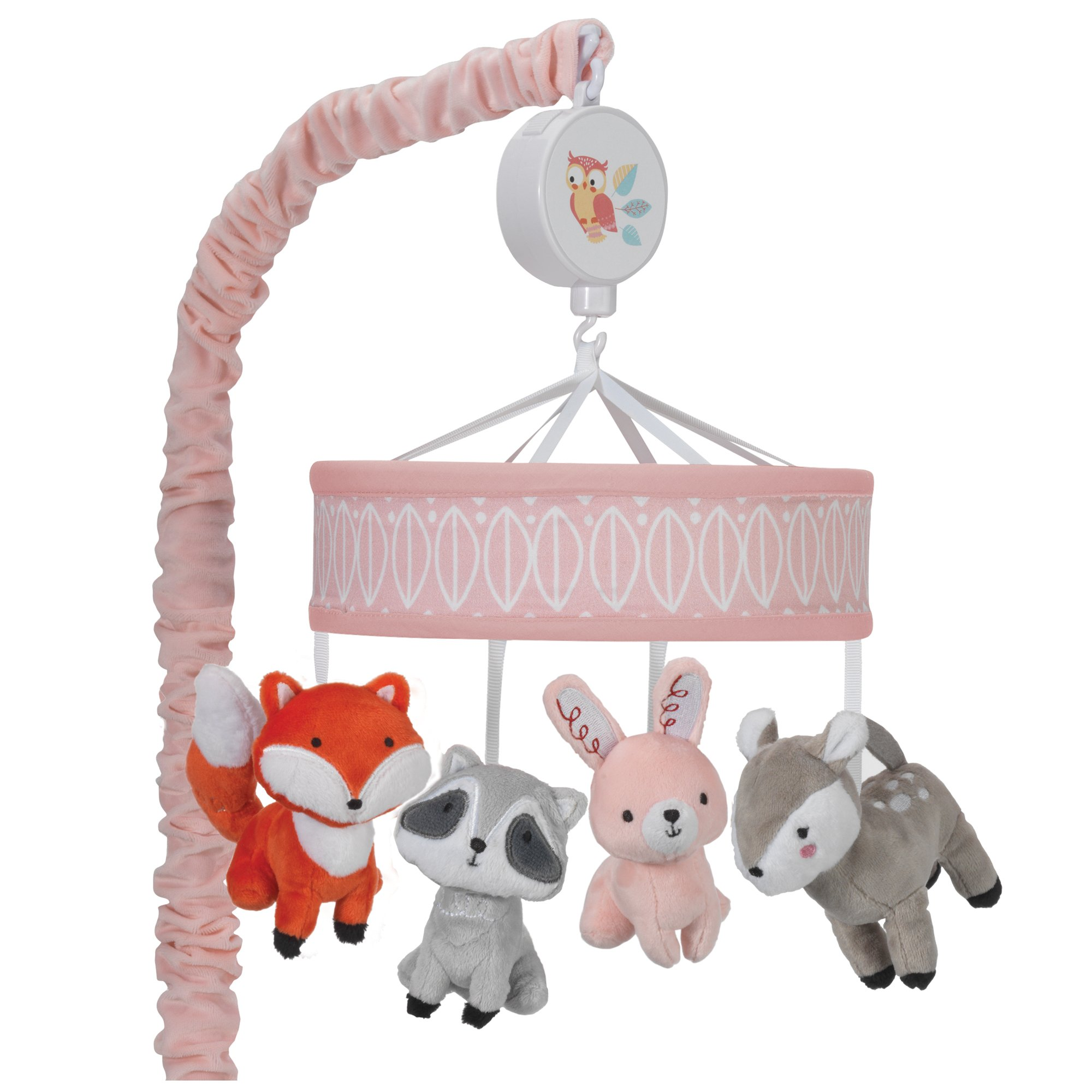 Click here to buy Lambs & Ivy Little Woodland Musical Baby Crib Mobile Gray, Coral, Animals by Lambs %26 Ivy.