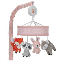 Lambs & Ivy Little Woodland Musical Baby Crib Mobile - Gray, Coral, Animals