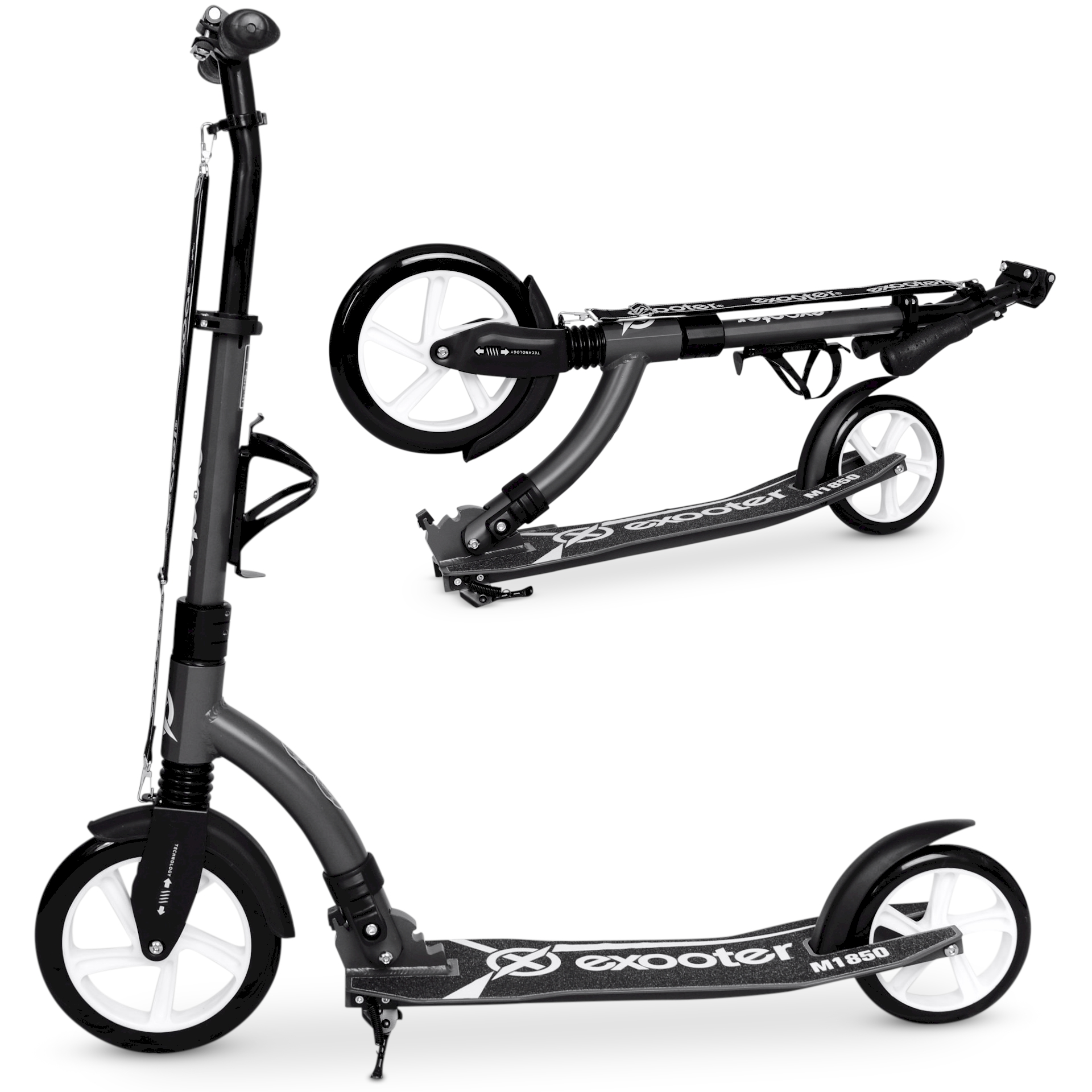 EXOOTER M1850CW 6XL Adult Kick Scooter With Front Shocks And 240mm 180mm White Wheels In... by EXOOTER