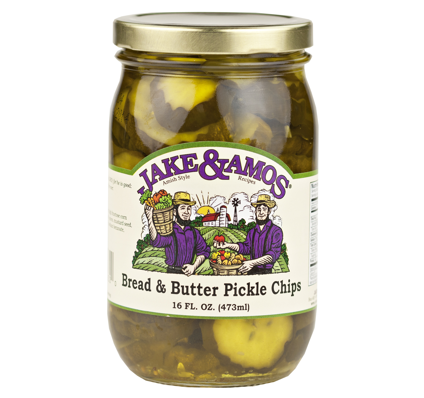 Jake & Amos Bread & Butter Pickle Chips 16 oz. (3 Jars)