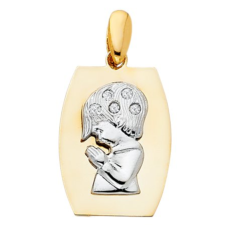 14K Two Tone Gold Cubic Zirconia CZ Religious Praying Boy Charm Pendant For Necklace or (Gold Praying Boy Charm)
