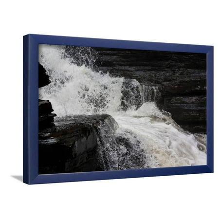 Catskills New York River Rocky Waterfall Photo Poster Framed Poster Wall (New York Framed Photograph)