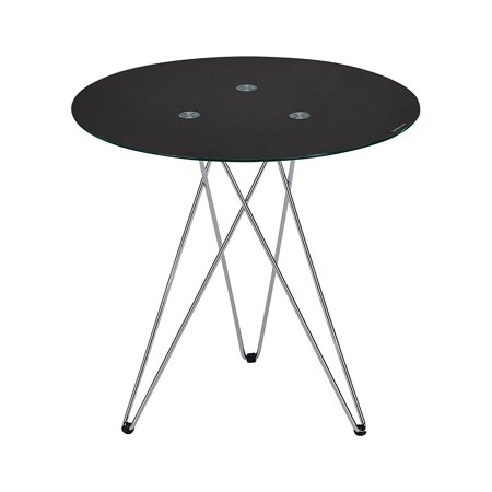 "Madeira 20"" 3 Legged Chrome Metal & Black Tempered Glass Top Modern Round Side End or Bedside Table"