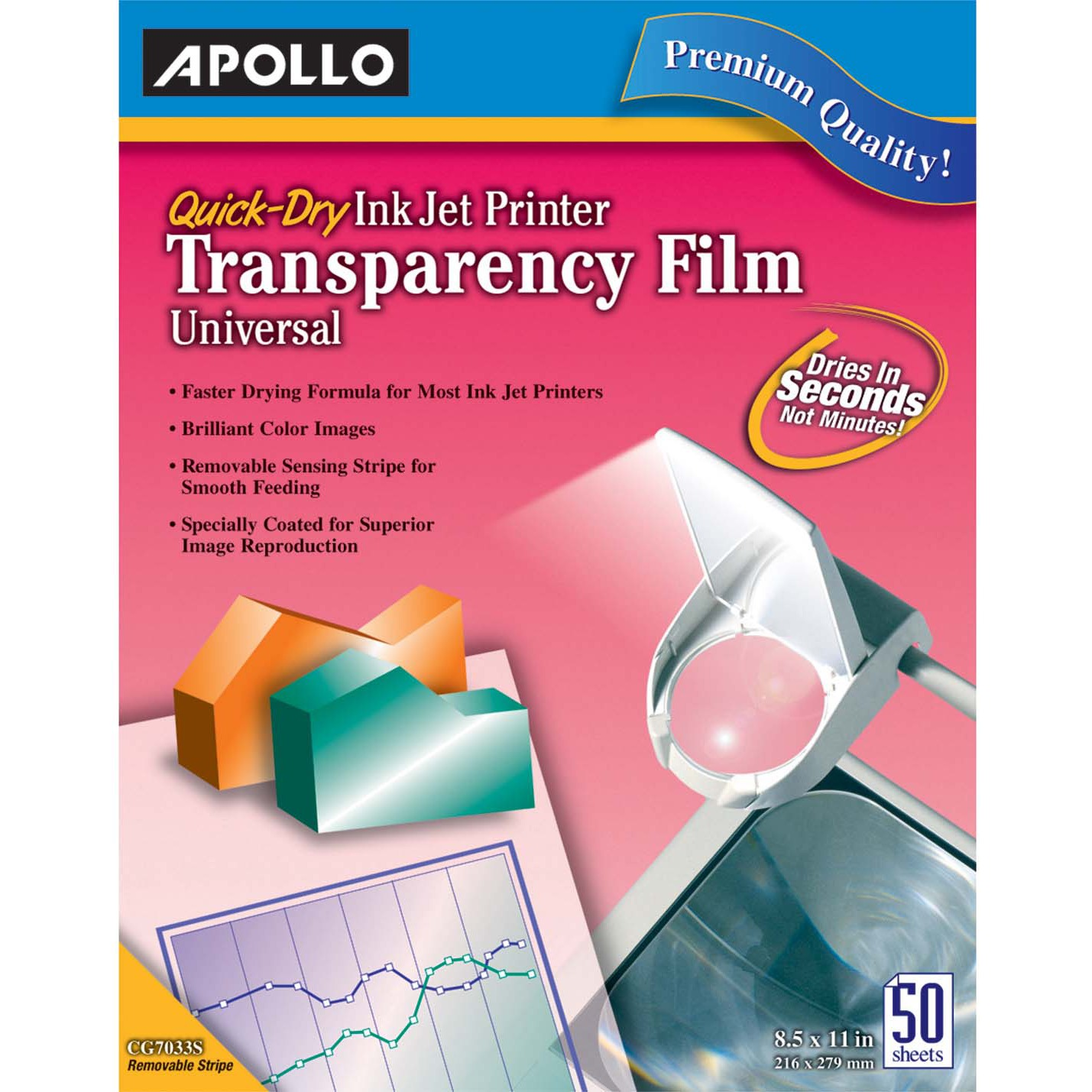 Apollo Quick-Dry Color Inkjet Transparency Film, Letter, Clear, 50/Box