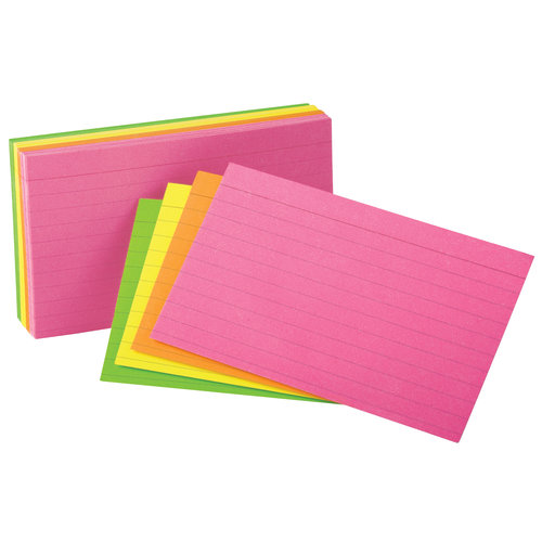 Oxford Ruled Index Cards, 3 x 5, Glow Green/Yellow, Orange/Pink, 100-Pack
