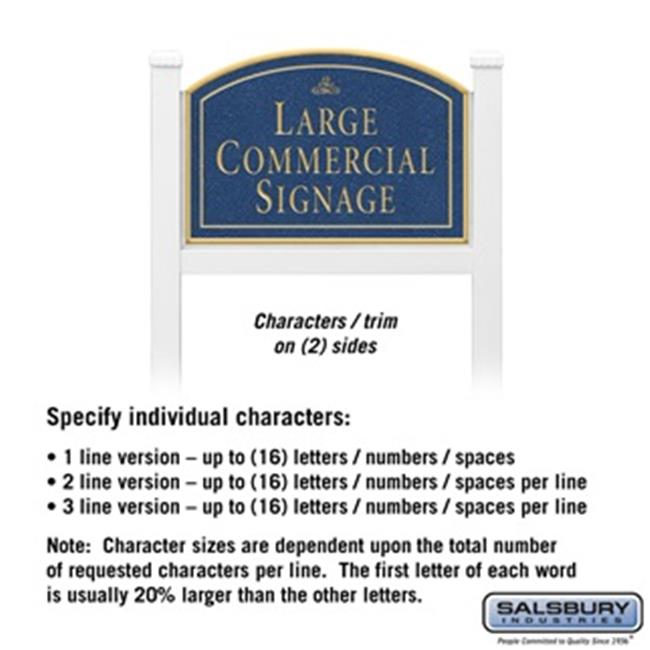 Salsbury 1521CGI2 2 Sided Arched White Post Commercial Sign with Gold Characters, Cobalt Blue Sign - Infinity