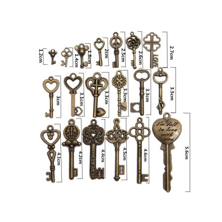19PCS Antique Vintage Bronze Key Old Look Skeleton Pendant Steampunk Heart Bow Jewelry Gift ()