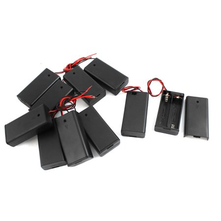 Unique Bargains 10Pcs Plastic Spring Loaded 2 x AA 1.5V Battery Box Case Holder w Cover