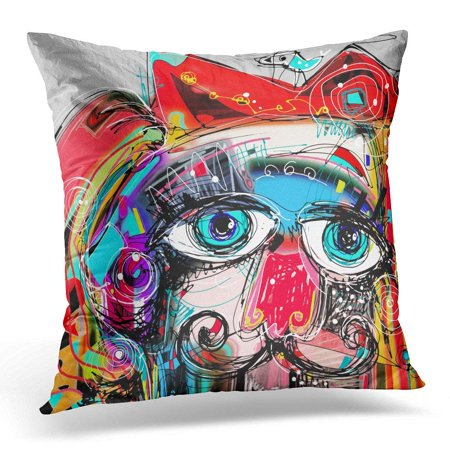 ARHOME Colorful Abstract Digital Artwork Painting Portrait of Cat Mustaches with Bird on Head Doodle Red Artist Pillow Case Pillow Cover 20x20 inch - Artist Mustache