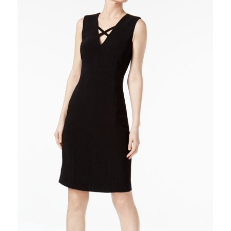 Calvin Klein NEW Black Womens Size 14 Cross V-Neck Sheath Dress New Yorker Dresses