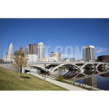 City of Columbus, Ohio with the New Rich Street Bridge in the Foreground. Print Wall Art By pdb1