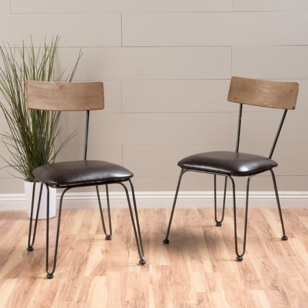 Noble House Bachman Brown Metal Bonded Leather Chairs (Set of 2) (Nobel Metals)