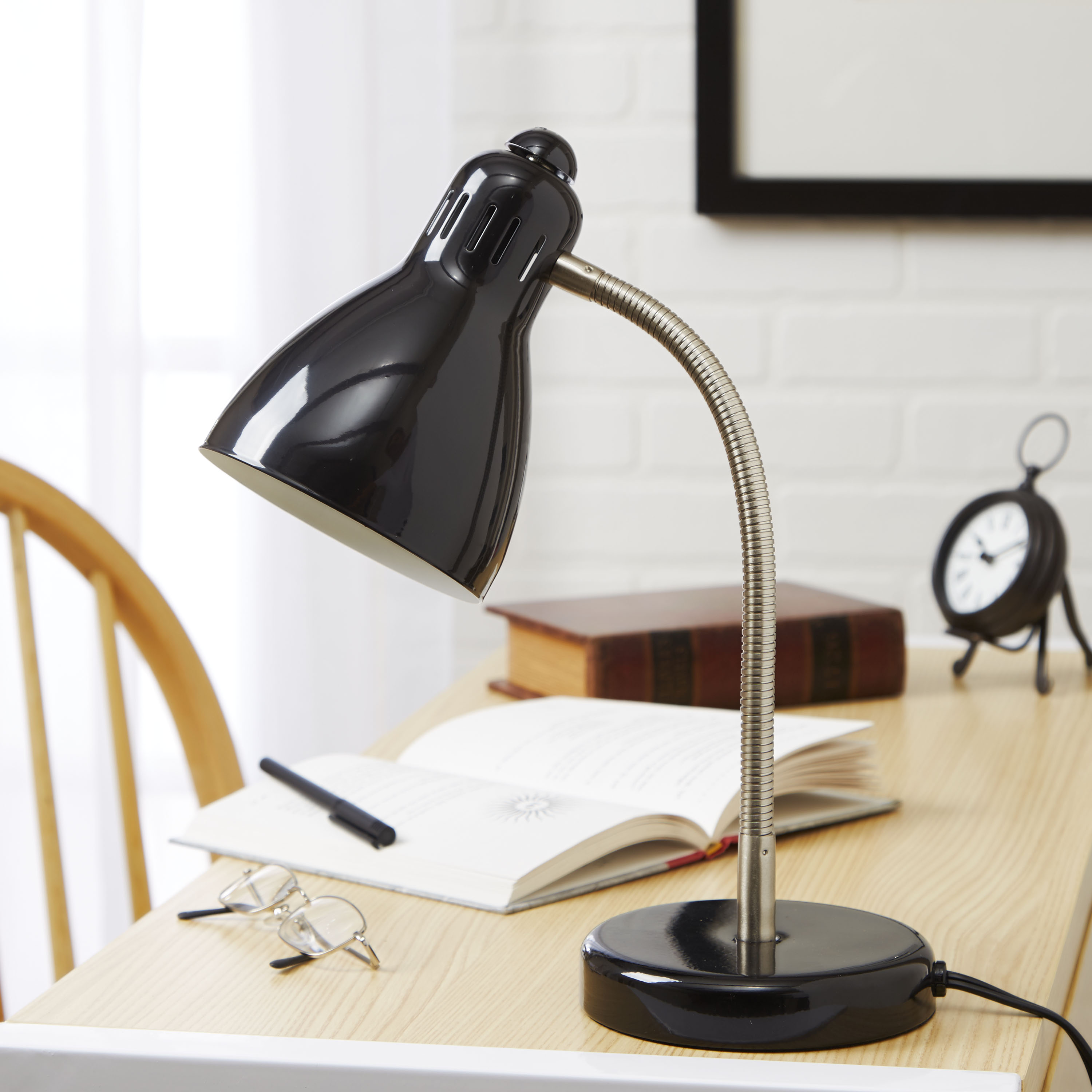 Mainstays Gooseneck Desk Lamp with Brushed Nickel Accents