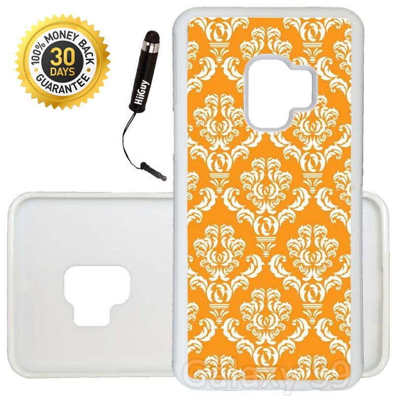 Custom Galaxy S9 Case (Damask Pumpkin) Edge-to-Edge Rubber White Cover Ultra Slim | Lightweight | Includes Stylus Pen by Innosub