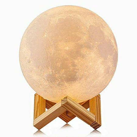 3D Printed Moon Lamp LED Baby Night Light Ellishang Table Desk Lamp USB Charging Wooden Base Touch Sensor Control 2-colors Dimmable Switch for Bedroom Birthday Decoration (Diameter 4.7 inch)
