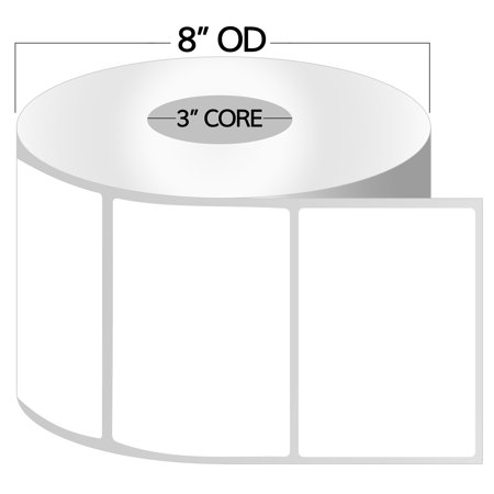 "OfficeSmartLabels 2.25"" x 1.25"" Direct Thermal Labels, Removable Zebra Compatible Labels (4 Rolls, 1000 Labels Per Roll, 1 inch Core, White, 4"" Diameter, Perforated)"