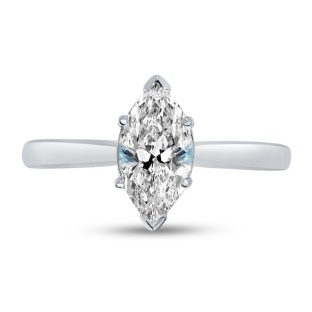Solid 14k White Gold Marquise Cut One Solitaire Wedding Engagement Ring CZ Cubic Zirconia 1.0ct. , Size 7