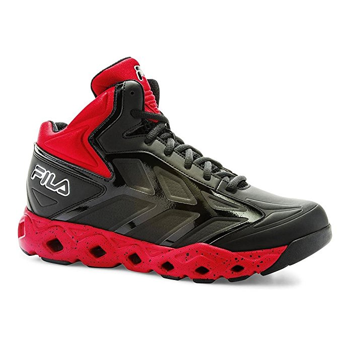 Fila TORRANADO Mens High Top Athletic Basketball Sneakers Shoes Black Red by
