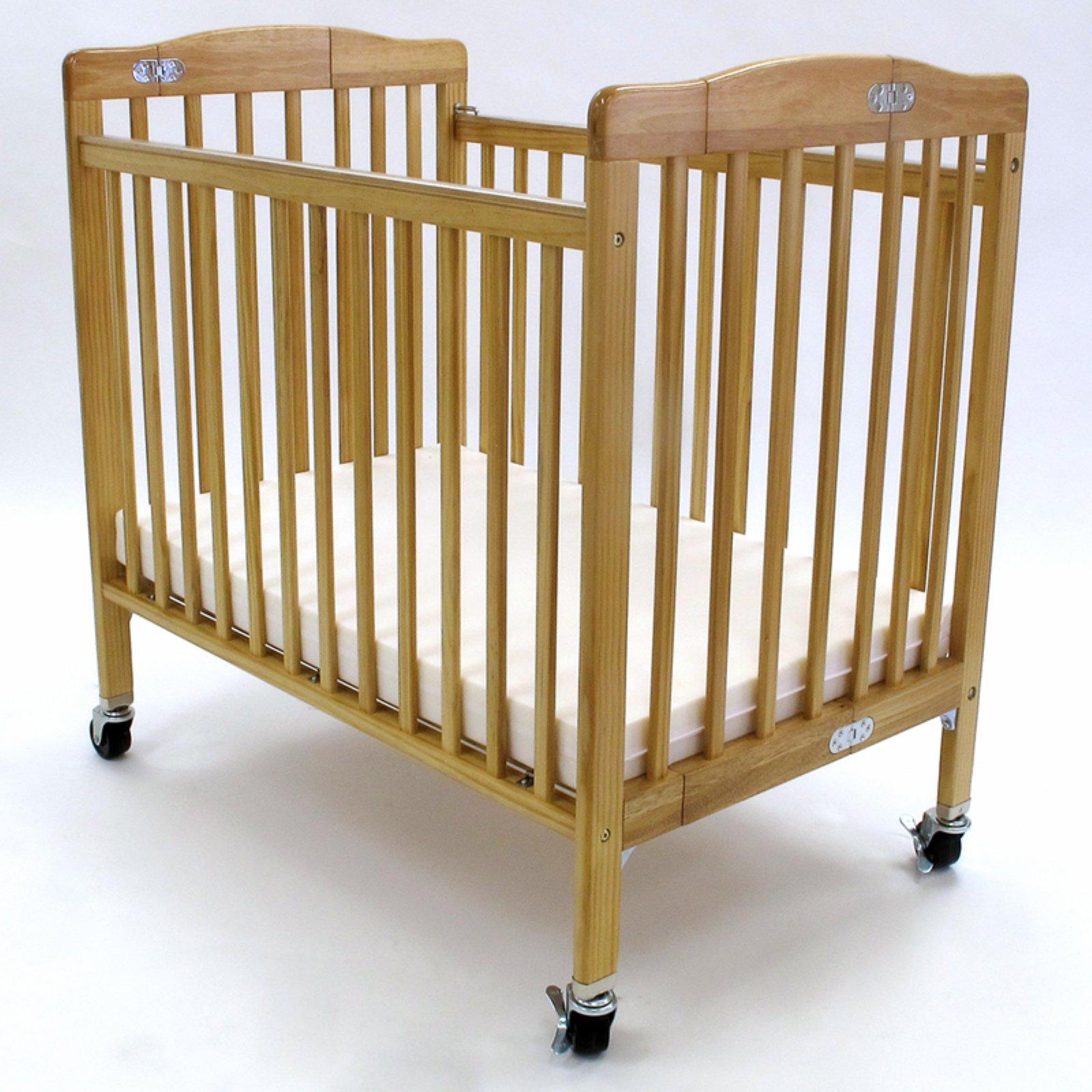 LA Baby Pocket Compact Folding Wood Crib - Natural