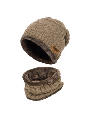 Product Image Vbiger Kids Warm Knitted Hat and Circle Scarf with Fleece  Lining e3d930d36129