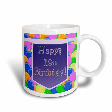 3dRose Balloons With Purple Banner Happy 19th Birthday Ceramic Mug 15 Ounce