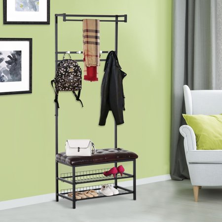 Strange Ghp 28 5X13 8X80 9 Brown Steel Storage Bench With 2 Tier Shelf Hat Coat Rack Pabps2019 Chair Design Images Pabps2019Com