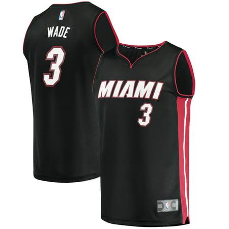 Youth Off Road Mens Jerseys - Dwyane Wade Miami Heat Fanatics Branded Youth Fast Break Road Jersey Black - Icon Edition