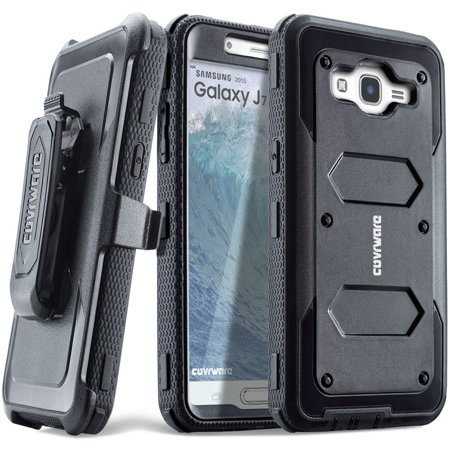 COVRWARE® Samsung Galaxy J7 (2015)/ J700 [Aegis Series] Built-in [Screen Protector] Heavy Duty Full-Body Rugged Holster Armor Case[Belt Clip][Kickstand](T-Mobile/MetroPCS/Boost Mobile/Virgin), Black