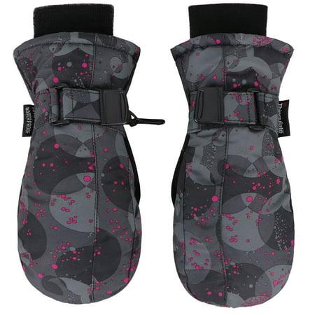 Polka Dots Mittens - Kids Thinsulate Lined Waterproof Ski Mittens Winter Gloves,Pink Dot