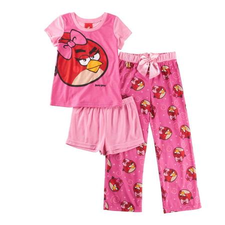 Angry Birds 3 Piece Girls Pajama Set, Pink PJ Sizes 4-10](Girls Sleepwear Sale)