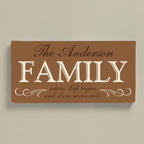 "Personalized Love Never Ends Family Canvas, 9"" x 27"""