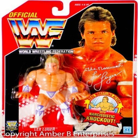Wwf Hasbro (WWF Hasbro Lex Luger Wrestling Action Figure on Red Card WWE WCW)