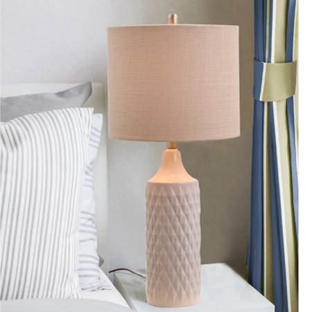 - Cresswell Lighting 3-Way Quilted Ceramic Table Lamp with Natural Linen Drum Shade