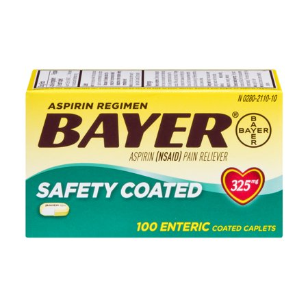 Bayer Aspirin Regimen Pain Reliever Safety Coated Enteric Coated Caplets   100 Ct