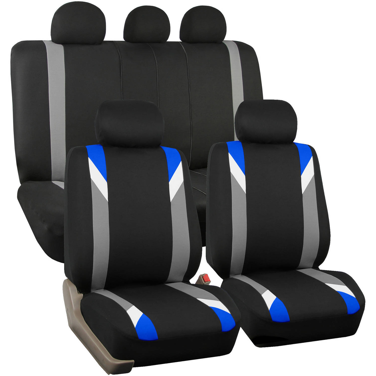 FH Group Airbag Compatible Modernistic Flat Cloth Full Set Seat Covers, Blue