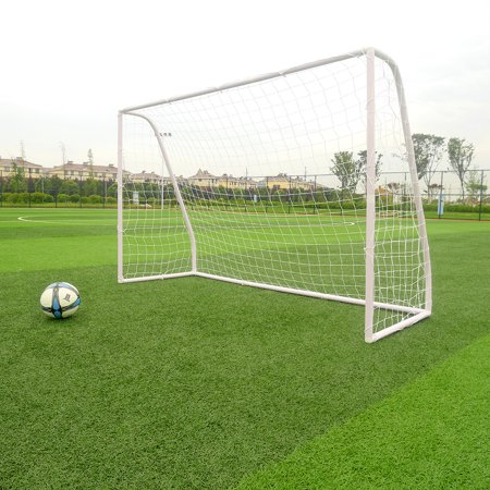 Zimtown 8' x 5' x 2.7' Portable Soccer Goal, Lightweight Professional Football Practice Training Aid Post Net, with Net Straps Anchor, for Outdoor Kids/Children Youth Foosball Sports, White ()