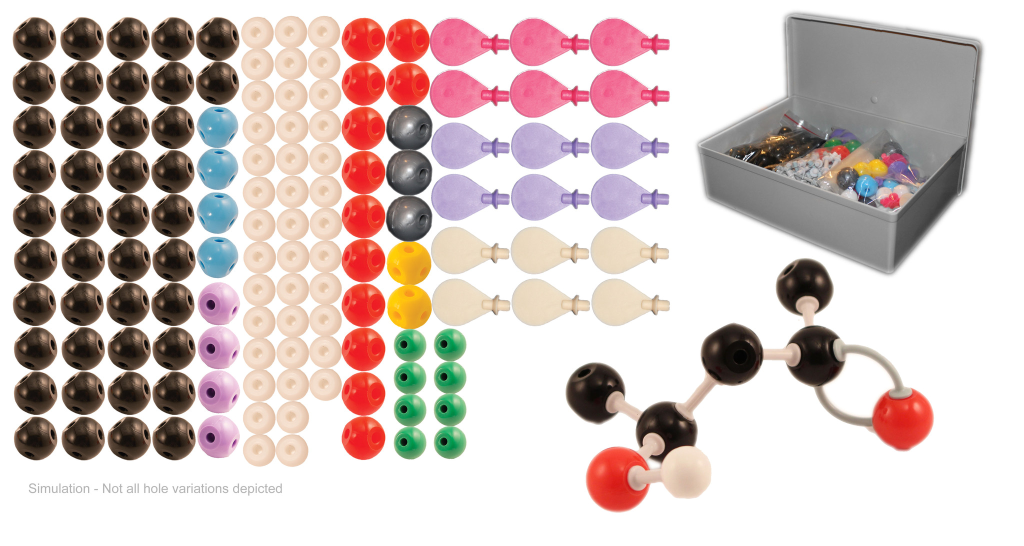 Molecular Model Kit for Organic and Inorganic Chemistry Teacher Set 115 Atoms and 140... by
