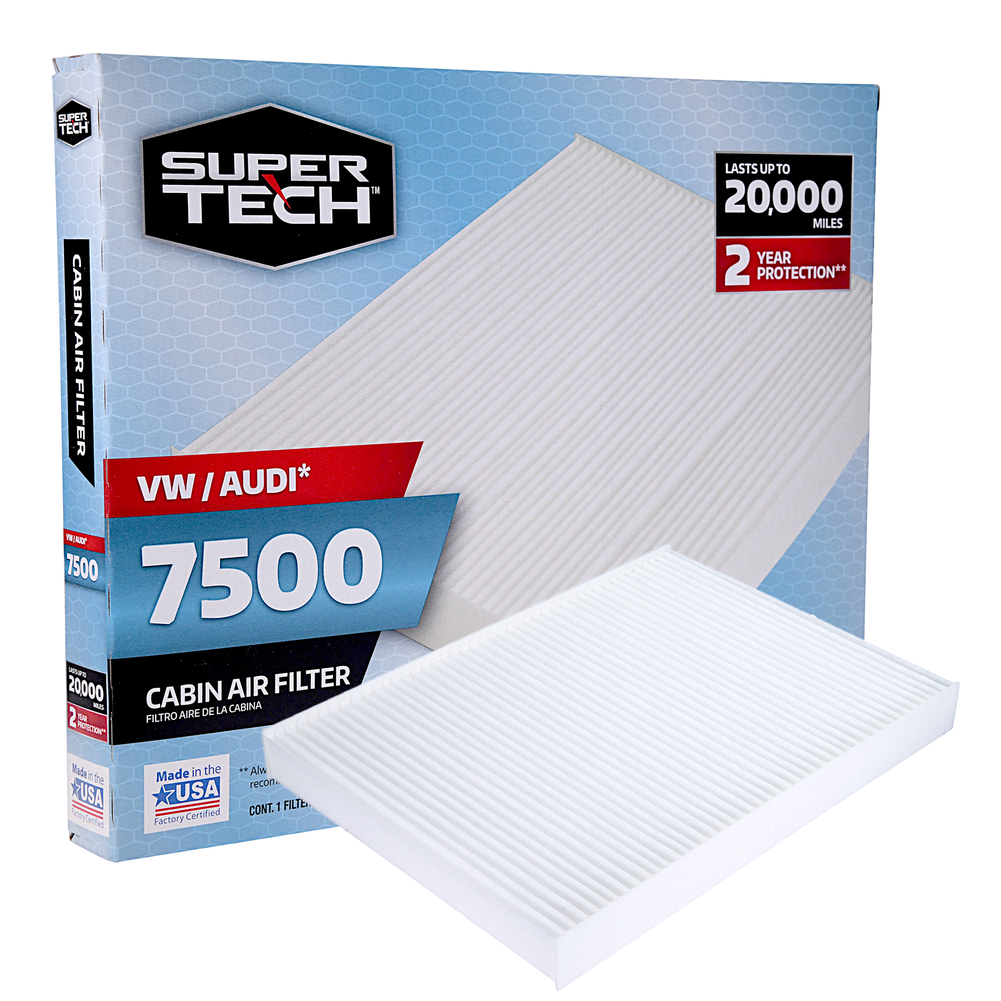 SuperTech Cabin Air Filter 7500, Replacement Air/Dust Filter for VW / Audi