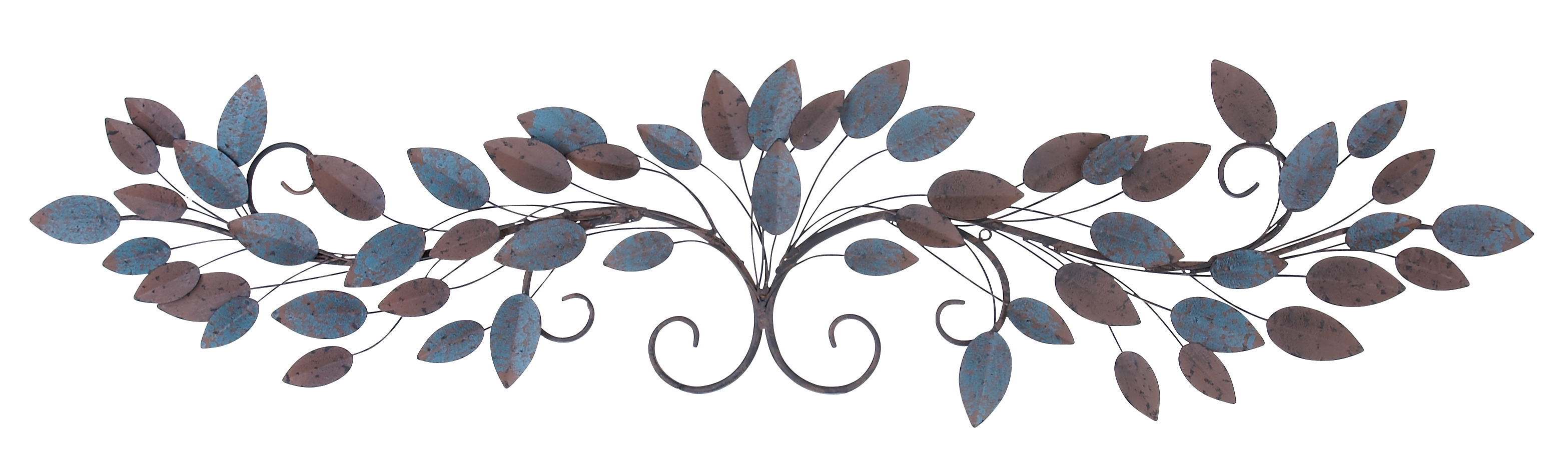 Decmode Natural 12 x 51 Inch Metal Wire and Leaves Wall Sculpture by DecMode