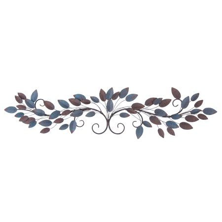 Leaves Metal Wall Art (Decmode Natural 12 x 51 Inch Metal Wire and Leaves Wall)