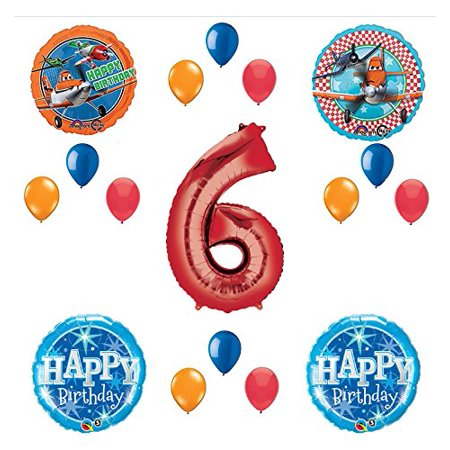 Disney Planes Party Supplies 6th Birthday Balloon Bouquet Decorations Red 6