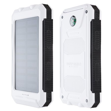 10000 Mah Solar Charger Dual Usb Power Bank Phone Battery W Flashlight Compass