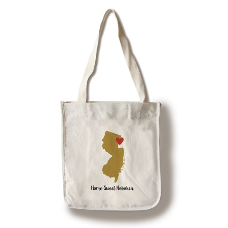 Home Sweet Hoboken, New Jersey - State Outline & Heart (Gold & Red) - Lantern Press Artwork (100% Cotton Tote Bag - Reusable) ()