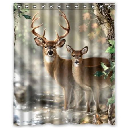 HelloDecor Deer Shower Curtain Polyester Fabric Bathroom Decorative Curtain Size 66x72 Inches