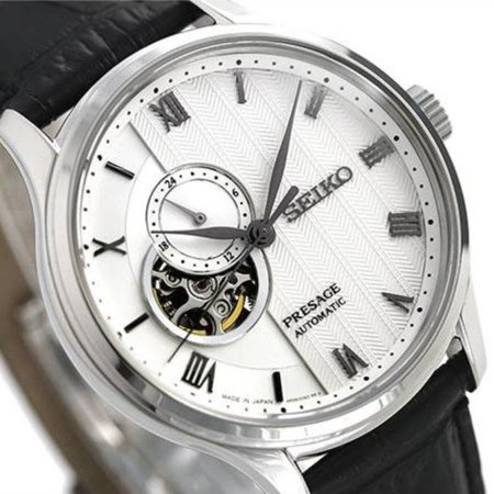 - Seiko Presage Automatic White Dial Black Leather Strap Mens Watch SSA379